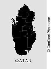 Black Qatar map - vector illustration
