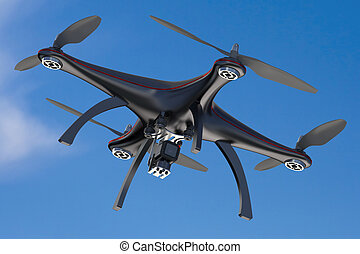 black quadcopter drone in sky