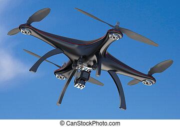 black quadcopter drone in sky