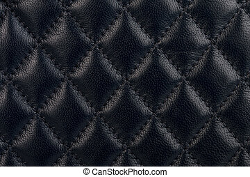 Black quilted leather close-up - Black quilted leather...