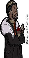 Black Rabbi Praying - Middle aged Orthodox Black Jewish ...