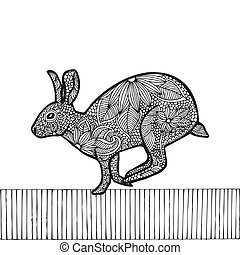 Black Rabbit- Chinese zodiac , black drawing on simple white...