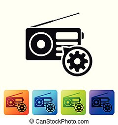 Black Radio with antenna and gear icon isolated on white background. Adjusting app, service concept, setting options, maintenance, repair, fixing. Set icon in color square buttons. Vector Illustration