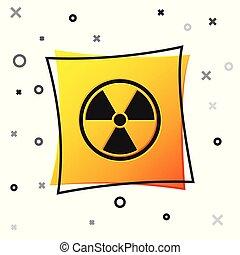 Black Radioactive icon isolated on white background. Radioactive toxic symbol. Radiation Hazard sign. Yellow square button. Vector Illustration