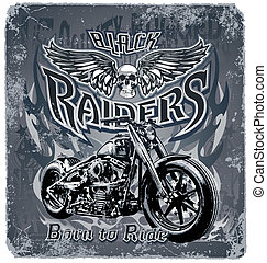 Black Raiders - motorcycle vector for T-shirt printed and...