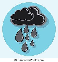 black rain circle icon with shadow