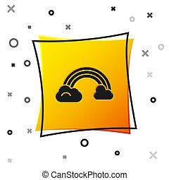 Black Rainbow with clouds icon isolated on white background. Yellow square button. Vector Illustration