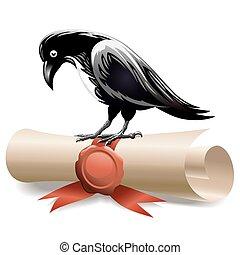 Black raven and diploma