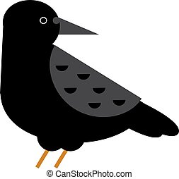 Carrion crow raven with wide-spread wings black beak nature feather wild dark bird vector.