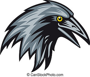 Black raven head for mascot. Vector illustration