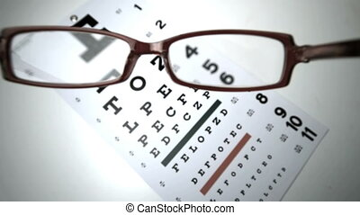 Black reading glasses falling onto eye test in slow motion