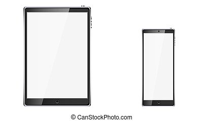 Black realistic mobile smart touchscreen tablet computer and mobile phone, smartphone with glossy blank screen with copy space isolated on white background. Vector illustration