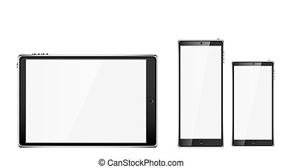 Black realistic mobile smart touchscreen tablet computer and two mobile phones, smartphone with glossy blank screen with copy space isolated on white background. Vector illustration