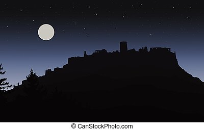Black realistic silhouette of the ruins of a medieval castle built on a hill under the night sky with a full moon and stars for Halloween, isolated in layers - vector