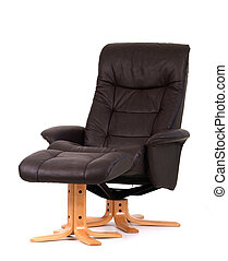 Black reclining chair with matching footstool. Perspective view, isolated on white