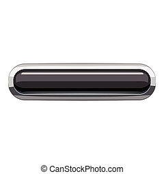 Black rectangular button icon, cartoon style