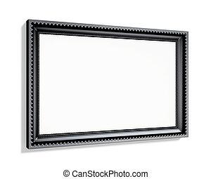 Black rectangular frame isolated on white background. 3d renderi