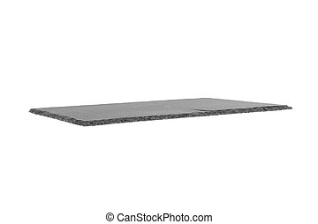 Black rectangular slate board isolated on white background