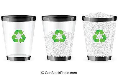 black recycle bin set