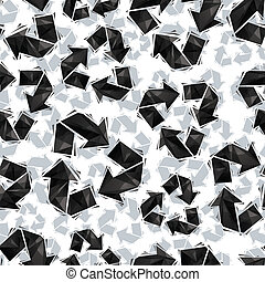 Black recycle signs seamless pattern, geometric contemporary sty