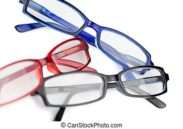 Black red and blue glasses