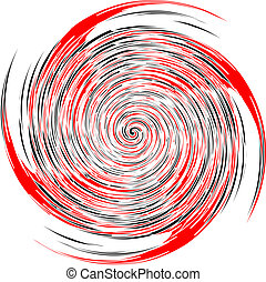Black, red and white spiral, vector