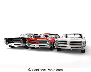 Black, red and white vintage cars