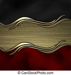 Black-red background with gold texture stripe layout