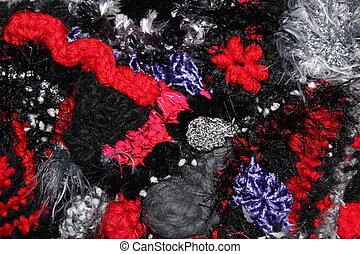 Black Red Freeform Crochet Fabric