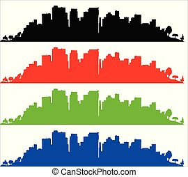 Black Red Green And Blue Sityscape Silhouette Over White