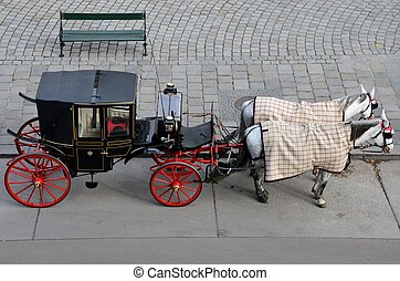 Black red horse carriage - Vienna