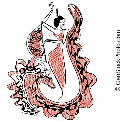 black red image of figure flamenco dancer