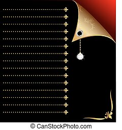 black-red paper with gold corner and crystal