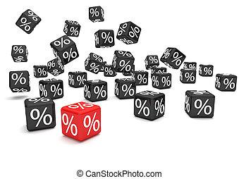Black Red Percent Cubes