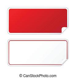 Black red sticker on white