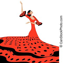 black-red woman and flamenco - white background and Spanish...