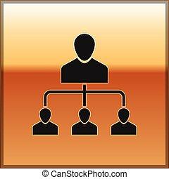 Black Referral marketing icon isolated on gold background. Network marketing, business partnership, referral program strategy. Vector Illustration