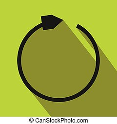 Black refresh arrow flat icon