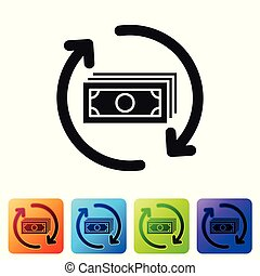Black Refund money icon isolated on white background. Financial services, cash back concept, money refund, return on investment, savings account. Set icon in color square buttons. Vector Illustration