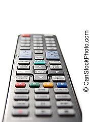 Black remote control on white