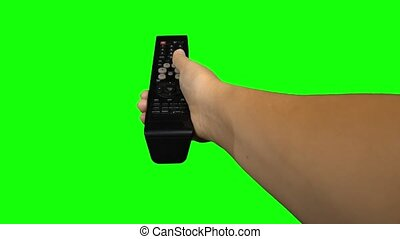 Black remote control television changing one channel . Green screen