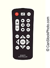 black remote control with buttons and signs.