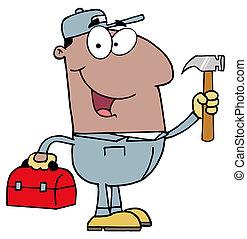 Black Repair Man With Tools