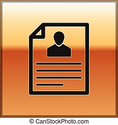 Black Resume icon isolated on gold background. CV application. Searching professional staff. Analyzing personnel resume. Vector Illustration