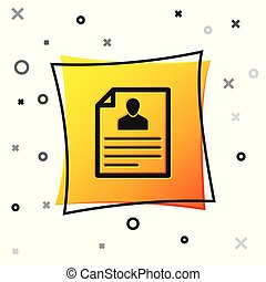 Black Resume icon isolated on white background. CV application. Searching professional staff. Analyzing personnel resume. Yellow square button. Vector Illustration
