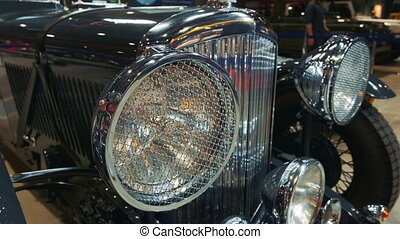 Black retro car front lights
