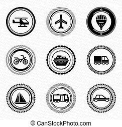 Black retro labels and badges: transportation