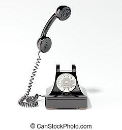 Black retro phone. 3d rendering