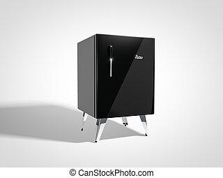 Black retro refrigerator