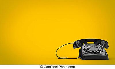 Black retro styled telephone - 3D Illustration